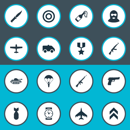 Vector Illustration Set Of Simple War Icons. Elements Kalashnikov, Rank, Target And Other Synonyms Paratrooper, Machine And Air.