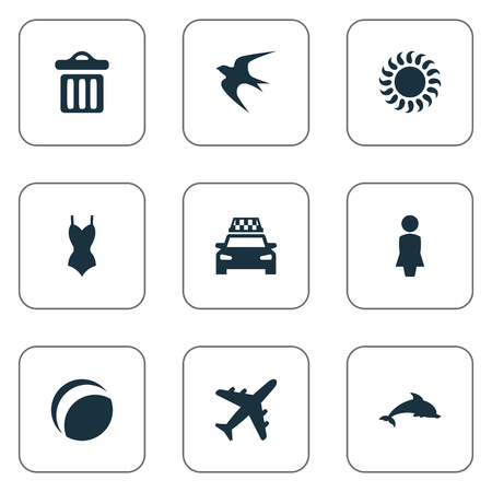 Vector Illustration Set Of Simple Seaside Icons. Elements Swallow, Beach Games, Taxi And Other Synonyms Swallow, Missus And Woman. Illustration