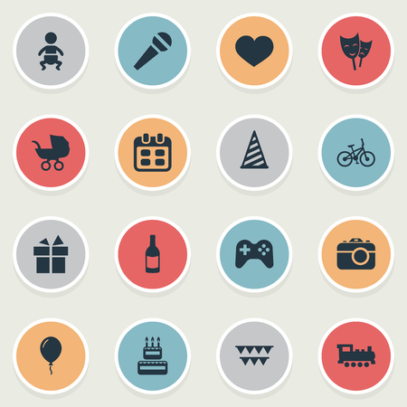 Vector Illustration Set Of Simple Holiday Icons. Elements Bicycle, Baby Carriage, Cap And Other Synonyms Aerostat, Carriage And Sweetmeat. Illustration
