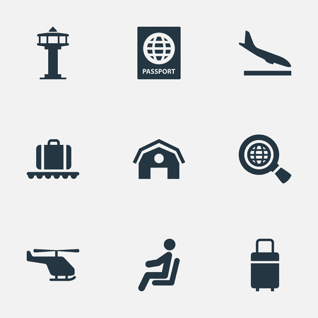 Vector Illustration Set Of Simple Plane Icons. Elements Travel Bag, Alighting Plane, Seat And Other Synonyms Man, Luggage And Alighting.