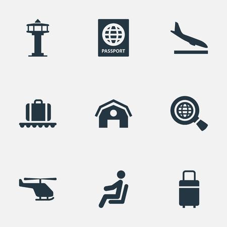 벡터 일러스트 레이 션 간단한 비행기 아이콘의 집합입니다. 요소 여행 가방, Alighting Plane, 좌석 및 기타 동의어 Man, 荷物 및 Alighting.