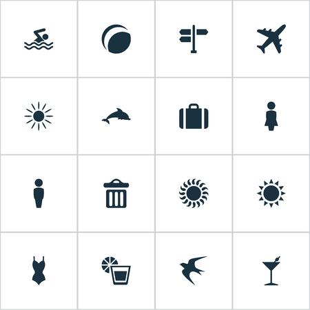 Vector illustratie Set van eenvoudige strand pictogrammen. Elements Cocktail, Sun, Swallow And Other Synoniemen Dolphin, Swallow And Mammalian.