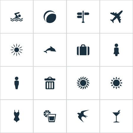 Vector Illustration Set Of Simple Beach Icons. Elements Cocktail, Sun, Swallow And Other Synonyms Dolphin, Swallow And Mammalian.
