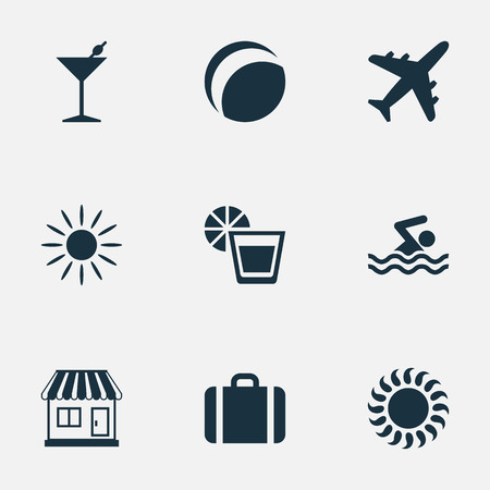 Vector Illustration Set Of Simple Seaside Icons. Elements Sunlight, Hot, Swimming Man And Other Synonyms Heat, Sunshine And Trip.