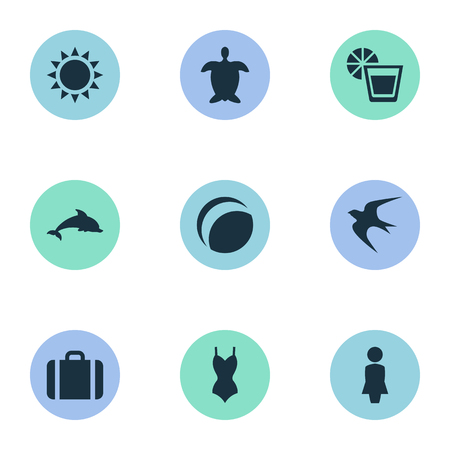 Vector Illustration Set Of Simple Beach Icons. Elements Sun, Mammal Fish, Bikini And Other Synonyms Luggage, Beach And Games. Illustration