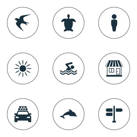 シンプルなビーチ アイコンのベクター イラスト セット。他の同義語の水生カメ、スイミング男要素タクシー男と方向。 写真素材 - 77769144