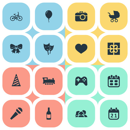 Vector Illustration Set Of Simple Birthday Icons. Elements Cap, Box, Beverage And Other Synonyms History, Game And Box. Illustration