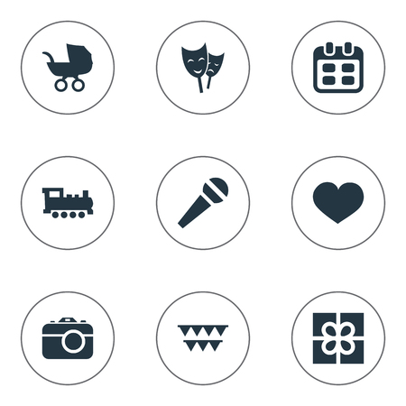 Vector Illustration Set Of Simple Celebration Icons. Elements Decorations;, Box, Mask And Other Synonyms Soul, Box And Locomotive.