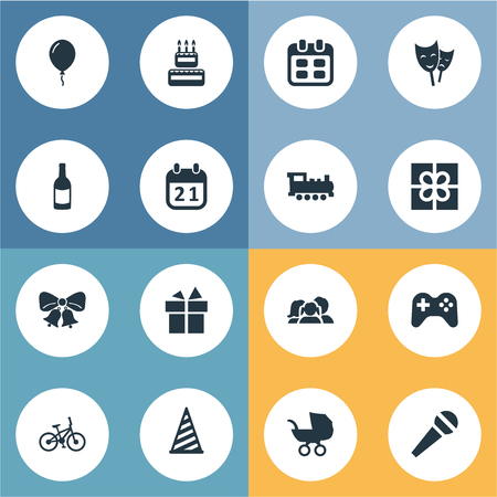 Vector Illustration Set Of Simple Celebration Icons. Elements Mask, Ribbon, Train And Other Synonyms Train, Hat And Stroller.