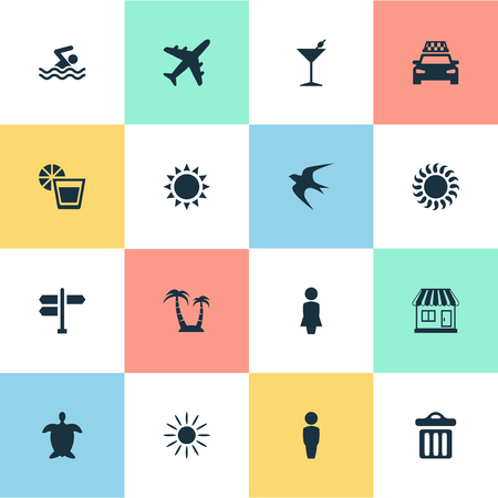 Vector Illustration Set Of Simple Seaside Icons. Elements Cocktail, Swallow, Tortoise And Other Synonyms Cab, Pool And Drink.