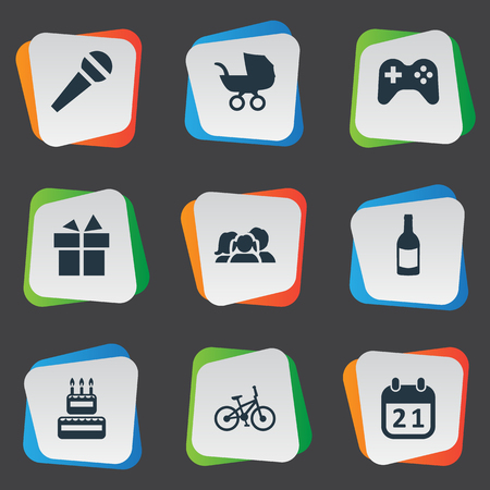 Vector Illustration Set Of Simple Celebration Icons. Elements Special Day, Speech, Baby Carriage And Other Synonyms Microphone, Joystick And Family.