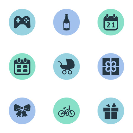 Vector Illustration Set Of Simple Holiday Icons. Elements Box, Special Day, Beverage And Other Synonyms Fizz, Baby And Bicycle.