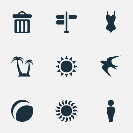 Vector Illustration Set Of Simple Beach Icons. Elements Garbage, Sunlight, Male And Other Synonyms Sun, Sunlight And Sunshine. Ilustrace