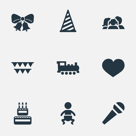 Vector Illustration Set Of Simple Holiday Icons. Elements Decorations;, Infant, Cap And Other Synonyms Domestic, Sweetmeat And Voice.