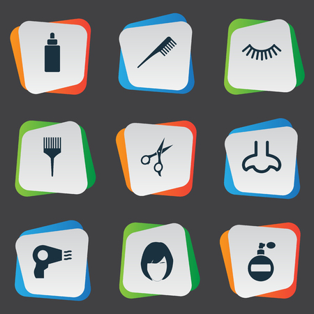 Vector Illustration Set Of Simple Cosmetics Icons. Elements Serum, Fragrance, Smell And Other Synonyms Mascara, Fragrance And Hairstylist.