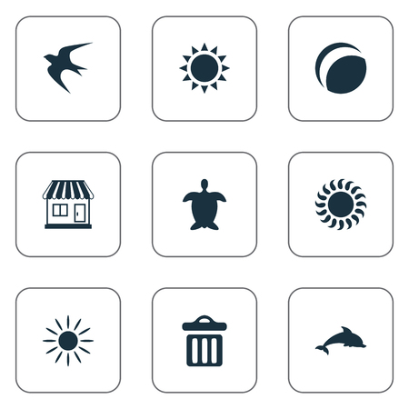 Vector Illustration Set Of Simple Beach Icons. Elements Swallow, Hot, Store And Other Synonyms Mammalian, Adventure And Aquatic.
