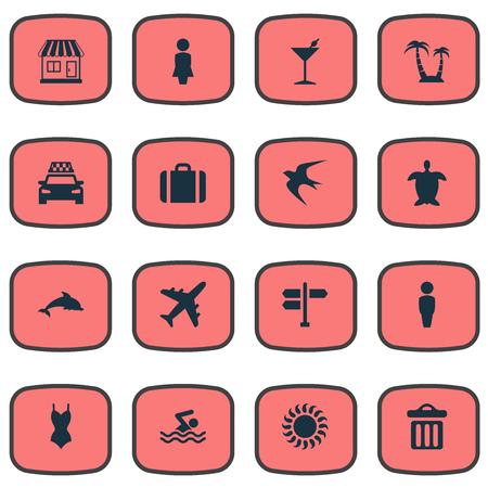 シンプルなビーチ アイコンのベクター イラスト セット。要素亀、スイミング男、カクテルやその他の類義語バー、飛行機、奥さん。 写真素材 - 77769509