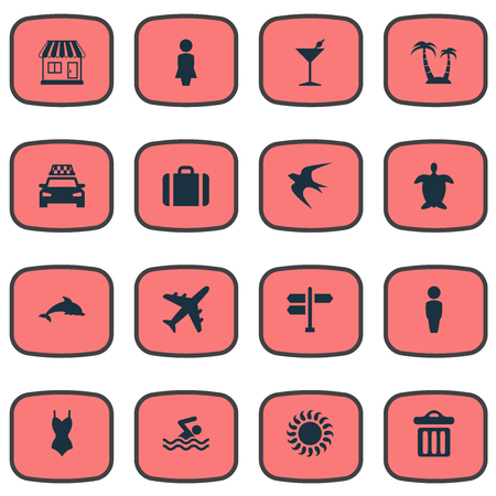 Vector Illustration Set Of Simple Beach Icons. Elements Tortoise, Swimming Man, Cocktail And Other Synonyms Bar, Airplane And Missus.