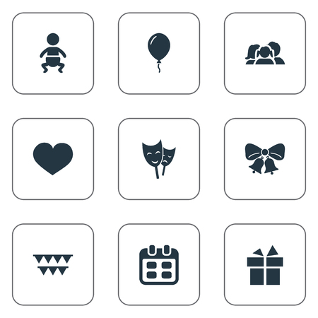 Vector Illustration Set Of Simple Birthday Icons. Elements Resonate, Infant, Mask And Other Synonyms Sky, Gift And Infant. Illustration