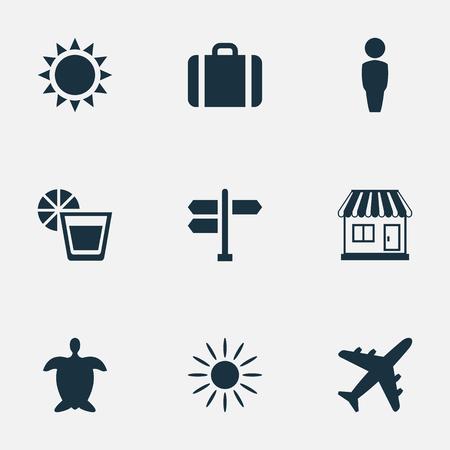 単純な海辺のアイコンのベクトル イラスト セット。要素太陽、飲料、飛行機および他の類義語ストア、紳士、男