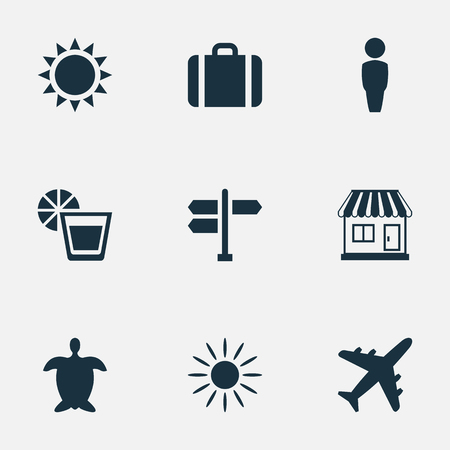 Vector Illustration Set Of Simple Seaside Icons. Elements Sun, Beverage, Airplane And Other Synonyms Store, Gentleman And Man.