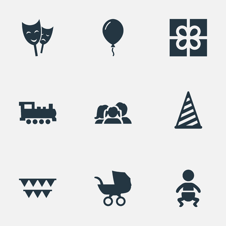 Vector Illustration Set Of Simple Holiday Icons. Elements Train, Infant, Mask And Other Synonyms Sky, People And Decorations.