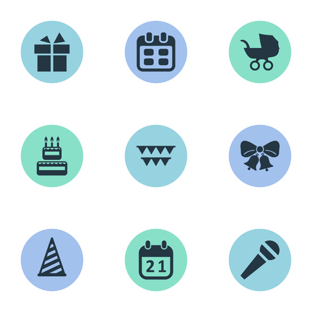 Vector Illustration Set Of Simple Holiday Icons. Elements Ribbon, Baby Carriage, Cap And Other Synonyms Cap, Calendar And Flags. Illustration