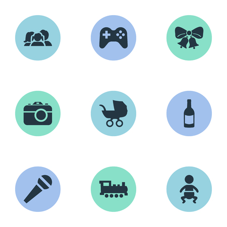 Vector Illustration Set Of Simple Birthday Icons. Elements Baby Carriage, Domestic, Infant And Other Synonyms Domestic, Jingle And Fizz.