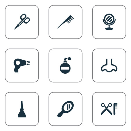 Vector Illustration Set Of Simple Beauty Icons. Elements Crest, Blow Dryer, Reflection And Other Synonyms Comb, Tool And Mirror. Illustration