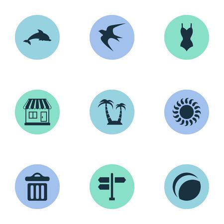 Vector illustratie Set van eenvoudige strand pictogrammen. Elements Crossroad, Mammal Fish, Bikini And Other Synoniemen Store, Beach and Crossroad. Stock Illustratie