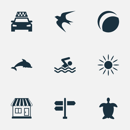 Vector Illustration Set Of Simple Seaside Icons. Elements Hot, Mammal Fish, Beach Games And Other Synonyms Adventure, Swimming And Junction.
