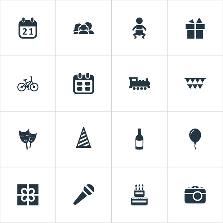 Vector Illustration Set Of Simple Celebration Icons. Elements Decorations;, Box, Beverage And Other Synonyms Aerostat, Voice And Calendar.