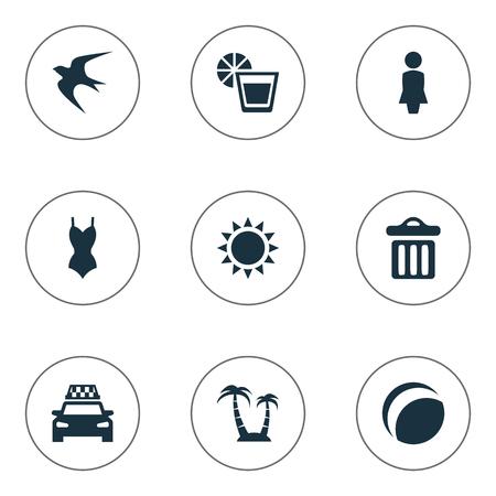 シンプルなビーチ アイコンのベクター イラスト セット。要素ビキニ、やし、タクシーおよび他の類義語のレモネード、ゴミ箱、ビーチウェア。 写真素材 - 77770601