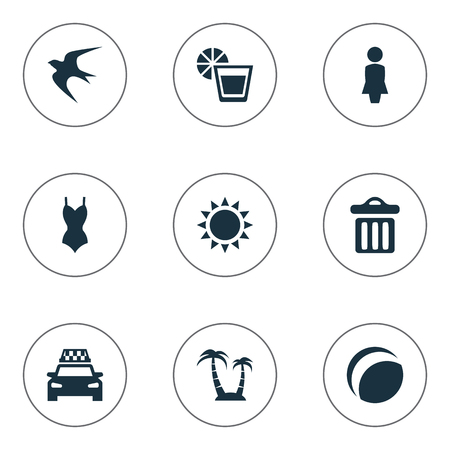 Vector Illustration Set Of Simple Beach Icons. Elements Bikini, Palm, Taxi And Other Synonyms Lemonade, Trash And Beachwear. 向量圖像