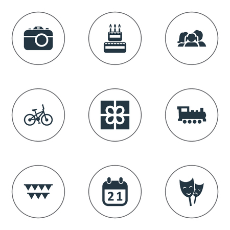 Vector Illustration Set Of Simple Holiday Icons. Elements Confectionery, Train, Special Day And Other Synonyms Locomotive, Steam And Train.
