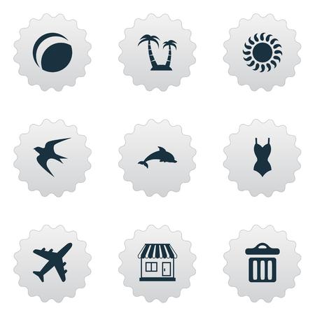 単純な海辺のアイコンのベクトル イラスト セット。要素のストア、飛行機、ビキニ、他類義語旅行自由とビキニ。 写真素材 - 77771103