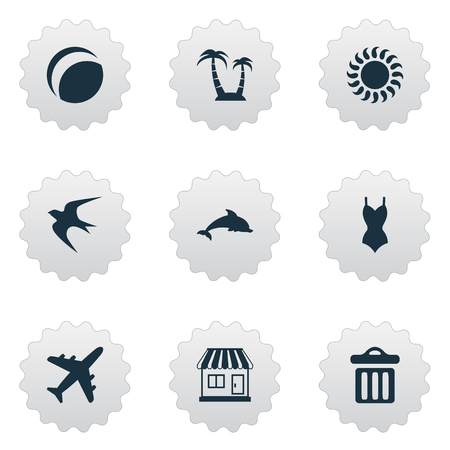 Vector Illustration Set Of Simple Seaside Icons. Elements Store, Airplane, Bikini And Other Synonyms Trip, Freedom And Bikini.