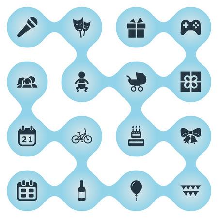 Illustration vectorielle définie des icônes de vacances simples. Elements Mask, Beverage, Resonate Et Other Synonymes Domestique, Sweetmeat And Box. Banque d'images - 77770631