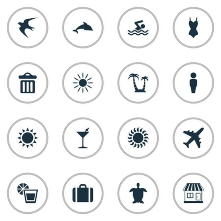 Vector illustratie Set van eenvoudige strand pictogrammen. Elements Beverage, Swallow, Swimming Man And Other Synoniemen Trash, Lemonade And Hot. Stock Illustratie