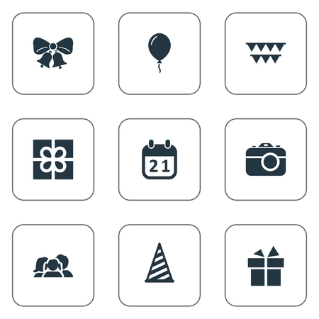 Vector Illustration Set Of Simple Holiday Icons. Elements Cap, Ribbon, Aerostat And Other Synonyms Balloon, Ribbon And Sky.
