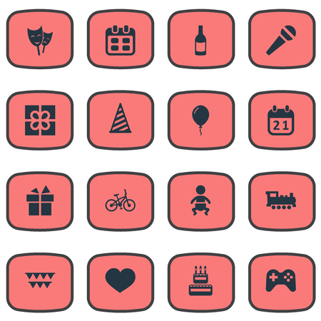 Vector Illustration Set Of Simple Birthday Icons. Elements Beverage, Infant, Ribbon And Other Synonyms Prize, Hat And Joystick.