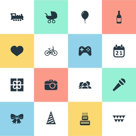 単純な休日のアイコンのベクトル イラスト セット。要素の特別な日、自転車、キャップ、その他類義語マイク ボックスし、赤ちゃん。  イラスト・ベクター素材