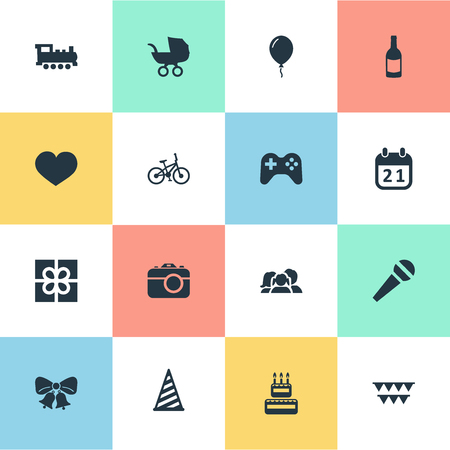 Vector Illustration Set Of Simple Holiday Icons. Elements Special Day, Bicycle, Cap And Other Synonyms Microphone, Box And Baby.