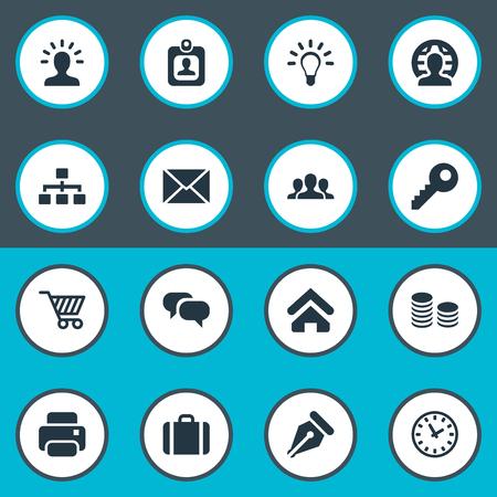 Illustration vectorielle définie des icônes simples de l'entreprise. Groupe d'éléments, machine à imprimer, mot de passe et autres synonymes, membre, devise et lettre. Banque d'images - 77771882