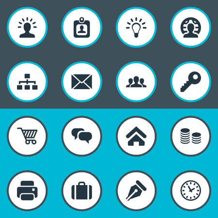 Vector Illustration Set Of Simple Business Icons. Elements Group, Printing Machine, Password And Other Synonyms Member, Currency And Letter. Illustration