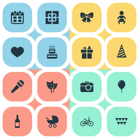 Vector Illustration Set Of Simple Birthday Icons. Elements Confectionery, Baby Carriage, Infant And Other Synonyms Confectionery, Stroller And Beverage.