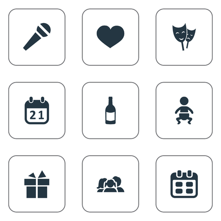 Vector Illustration Set Of Simple Holiday Icons. Elements Ribbon, Mask, Special Day And Other Synonyms Actor, People And Schedule.