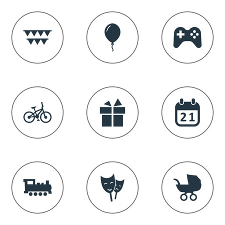 Vector Illustration Set Of Simple Holiday Icons. Elements Aerostat, Baby Carriage, Train And Other Synonyms Balloon, Mask And Carriage. Illustration