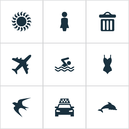 Vector Illustration Set Of Simple Seaside Icons. Elements Sunlight, Mammal Fish, Swallow And Other Synonyms Dustbin, Woman And Dolphin.