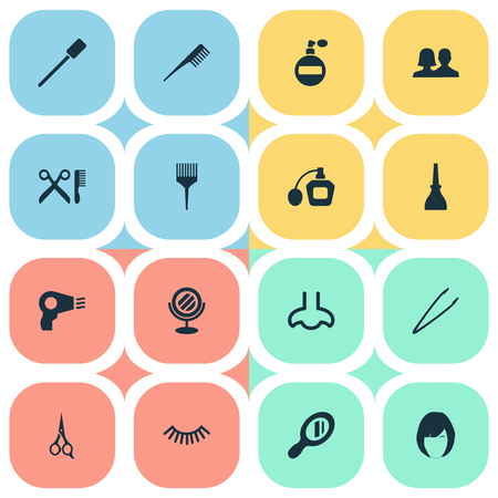 Vector Illustration Set Of Simple Beauty Icons. Elements Hairstyle, Eyelash Brush, Nail Polish And Other Synonyms Smell, Barber And Mascara.